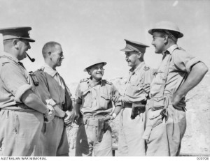 Lt Col. William Crellin (third from left) at Tobruk, September 1941. AWM image 020708.