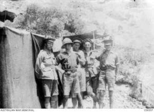 Clive Hopkins (at right), Reserve Gully, Gallipoli, June 1915. AWM image C00557.