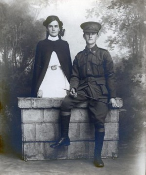 Tim McMahon with his half-sister, Mary Grady, a nurse at Goulburn's Kenmore Hospital, 1916