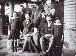 Harry Robertson and his family on the day he left Queanbeyan. (Left to right) Jessie, Todd, Elizabeth (mother), Ivy (in front), Harry, Ned, Edward (father), George and Elsie Robertson.
