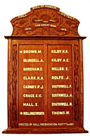 Hall Roll of Honour. Image courtesy Sandra Young.